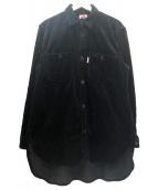 H.R.MARKET(ハリウッドランチマーケッド)の古着「ワイドコーデュロイロングワークシャツ」|ブラック