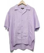 OPENING CEREMONY(オープニングセレモニー)の古着「刺繍ロゴリネンオープンカラーシャツ」 バイオレット