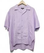 OPENING CEREMONY(オープニングセレモニー)の古着「刺繍ロゴリネンオープンカラーシャツ」|バイオレット