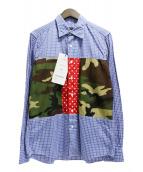 ()の古着「パッチワークチェックシャツ」|ネイビー