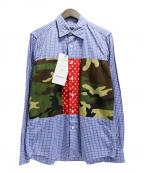 SOPH.(ソフ)の古着「パッチワークチェックシャツ」|ネイビー