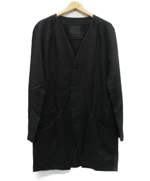 OURET(オーレット)OURET (オーレット) リネン混ノーカラージャケット ブラック サイズ:無し※実寸参照 RAMIE COTTON WALL TWIST KERSEY ROUND POCKETの古着・服飾アイテム