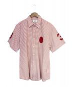 A BATHING APE(アベイシングエイプ)の古着「半袖ギンガムチェックシャツ」 レッド