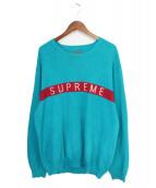 supreme(シュプリーム)の古着「Logo Stripe Pique Crewneck」|スカイブルー