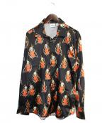 sss world corp(トリプルエス ワールドコープ)の古着「サテンシャツ」|ブラック