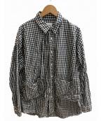 CAL O LINE(キャルオーライン)の古着「ギンガムペインターシャツ」 ホワイト×ブラック