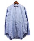 BLAMINK(ブラミンク)の古着「ストライプグランパシャツ」|スカイブルー