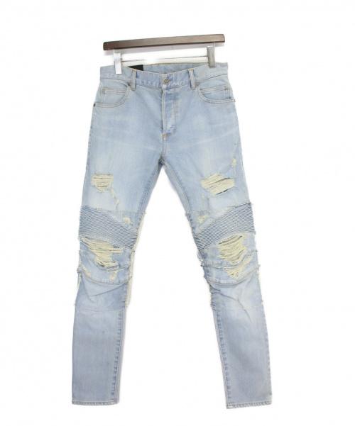 BALMAIN(バルマン)BALMAIN (バルマン) ダメージバイカーデニムパンツ ライトインディゴ サイズ:W30の古着・服飾アイテム