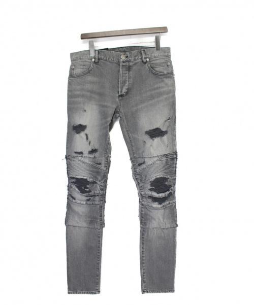BALMAIN(バルマン)BALMAIN (バルマン) ダメージバイカーデニムパンツ グレー サイズ:W28の古着・服飾アイテム