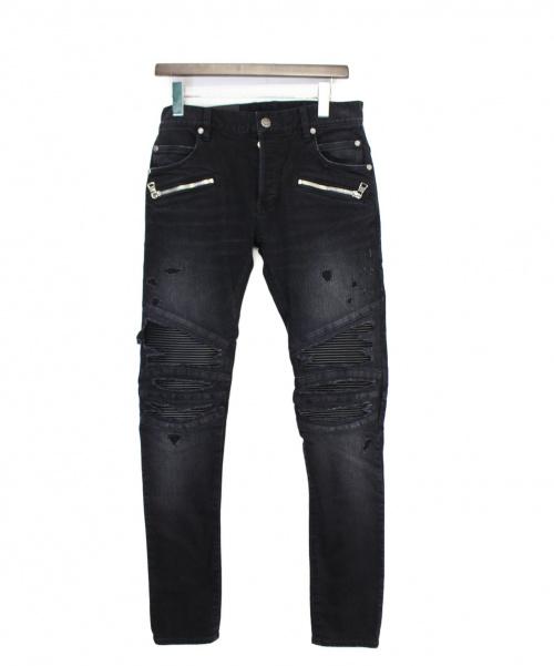 BALMAIN(バルマン)BALMAIN (バルマン) ダメージ切替バイカーデニムパンツ ブラック サイズ:W28の古着・服飾アイテム