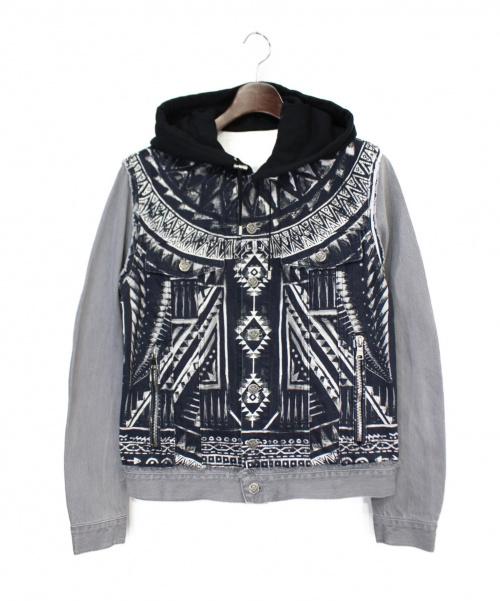 BALMAIN(バルマン)BALMAIN (バルマン) 切替フーデッドジャケット ブラック×グレー サイズ:46の古着・服飾アイテム