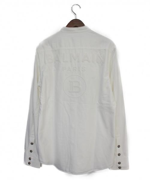 BALMAIN(バルマン)BALMAIN (バルマン) バックロゴノーカラーシャツ ホワイト サイズ:41の古着・服飾アイテム