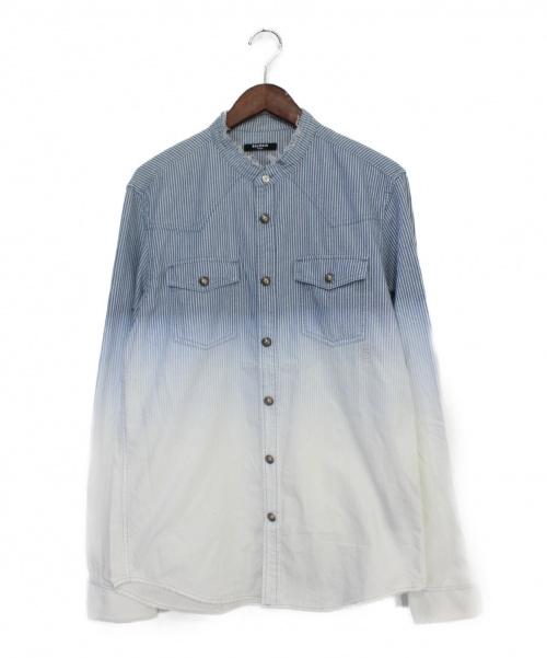 BALMAIN(バルマン)BALMAIN (バルマン) ストライプグラデーションシャツ ホワイト×インディゴ サイズ:40の古着・服飾アイテム