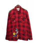 BILLIONAIRE BOYS CLUB(ビリオネアボーイズクラブ)の古着「パッチシャツ」|レッド