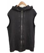UNDERCOVER(アンダーカバー)の古着「カットオフダブルZIPベストパーカー」|ブラック