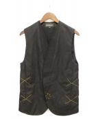 ANN DEMEULEMEESTER(アンドゥムルメステール)の古着「ステッチデザインベスト」|ブラック