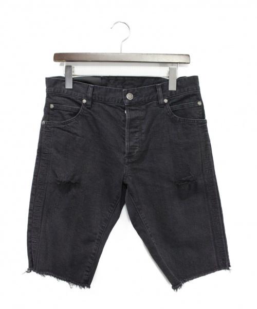 BALMAIN(バルマン)BALMAIN (バルマン) サイドロゴデニムハーフパンツ ブラック サイズ:30の古着・服飾アイテム