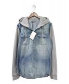 BALMAIN(バルマン)の古着「スウェットドッキングデニムシャツ」|インディゴ×グレー