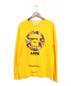 AAPE BY A BATHING APE(エーエイプ バイアベイシングエイプ)の古着「長袖Tシャツ」|イエロー