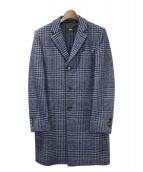 HUGO BOSS(ヒューゴボス)の古着「グレンチェックチェスターコート」|ネイビー