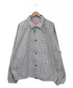 Supreme(シュプリーム)の古着「Houndstooth Logos Snap Jacket」|ホワイト×ブラック