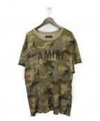 AMIRI(アミリ)の古着「ショットガンロゴTシャツ」|カーキ