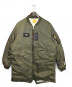 FR2(エフアールツー)の古着「ロングMA-1ダウンジャケット」 カーキ