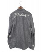 BALMAIN(バルマン)の古着「メタルボタンデニムシャツ」|グレー