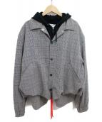 FACETASM(ファセッタズム)の古着「フーディドッキンググレンチェックジャケット」 グレー