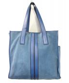 TOD'S(トッズ)の古着「ダブルストライプトートバッグ」 ブルー