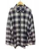 MYNE(マイン)の古着「Check zip-up shirt」|ネイビー×ホワイト