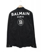 BALMAIN(バルマン)の古着「メタルボタンマオカラーシャツ」|ブラック