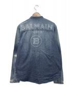 BALMAIN(バルマン)の古着「メタルボタンマオカラーデニムシャツ」|インディゴ