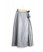 BEAMS BOY(ビームスボーイ)の古着「キルトプリーツラップロングスカート」|グレー