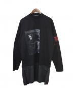 ALMOSTBLACK(オールモストブラック)の古着「20AW 裾ドッキングTシャツ」 ブラック