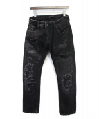 DIESEL Black Gold(ディーゼル ブラック ゴールド)の古着「パッチワークデニムパンツ」|ブラック