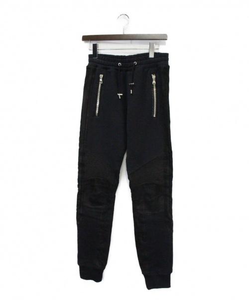 BALMAIN(バルマン)BALMAIN (バルマン) レザー切替バイカースウェットパンツ ブラック サイズ:Sの古着・服飾アイテム