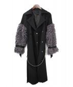 riu(リウ)の古着「Fur sleeve trench coat」|ブラック