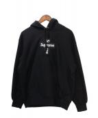 ()の古着「20AW Cross Box Logo Hooded Swe」|ブラック