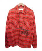 OFFWHITE(オフホワイト)の古着「オーバーサイズチェックシャツ」 レッド