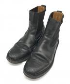 Tricker's(トリッカーズ)の古着「サイドゴアウイングチップブーツ」 ブラック