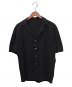 LARDINI(ラルディーニ)の古着「コットンミラノリブリゾット ラペルドニットシャツ」 ブラック