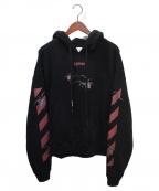 OFFWHITE(オフホワイト)の古着「Spider Print Logo Hoodie Black」 ブラック