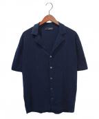 LARDINI(ラルディーニ)の古着「コットンミラノリブリゾット ラペルドニットシャツ」 ネイビー