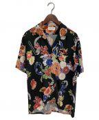 Saint Laurent Paris(サンローランパリ)の古着「LOVEフラワーアロハシャツ」 ブラック