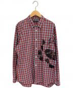 COMME des GARCONS HOMME PLUS(コムデギャルソンオムプリュス)の古着「プリントチェックシャツ」|レッド