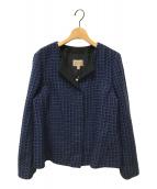 ()の古着「ツイードジャケット」 ブルー×ブラック