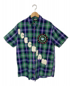 ()の古着「ワッペンチェックシャツ」 グリーン×ネイビー