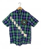 ICE CREAM(アイスクリーム)の古着「ワッペンチェックシャツ」 グリーン×ネイビー