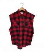 FOG(エフオージー)の古着「ノースリーブチェックシャツ」|レッド